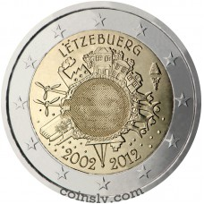 "2 euro Luxembourg 2012 ""10 years of the Euro"""