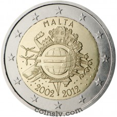 "2 euro Malta 2012 ""10 years of the Euro"""