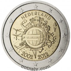 "2 euro Netherlands 2012 ""10 years of the Euro"""