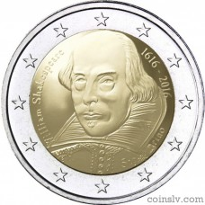 "2 Euro San Marino 2016 ""400th anniversary of the death of William Shakespeare"""