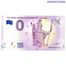 0 Euro banknote 2018 Austria -100 Jahre Republik Osterreich