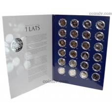 Collector album with 24 Latvia 1 lats coins (1992-2013) UNC