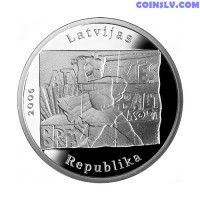 Latvia 1 Lats 2006 - Coin commemorating the barricades of January 1991