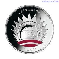 "Latvia 1 Lats 2008 - Coin ""90th Anniversary of Latvia's Statehood"""