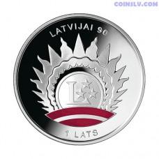 """Latvia 1 Lats 2008 - Coin """"90th Anniversary of Latvia's Statehood"""""""