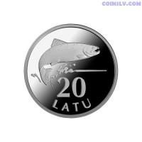 "Latvia 20 Lats 2013 ""Silver Salmon"""