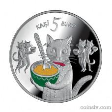 """Latvia 5 euro 2015 """"Fairy tale coin I. Five cats"""""""