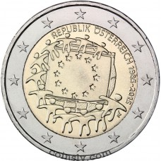 "2 Euro Austria 2015 ""The 30th anniversary of the EU flag"""