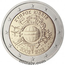 "2 euro Cyprus 2012 ""10 years of the Euro"""
