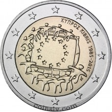 "2 Euro Cyprus 2015 ""The 30th anniversary of the EU flag"""