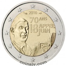 "2 euro France 2010 ""The Call made by General de Gaulle on 18 June 1940"""