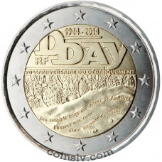 "2 Euro France 2014 ""70th anniversary of the Normandy landings of 6 June 1944"""