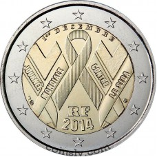 "2 Euro France 2014 ""The fight against AIDS by way of World AIDS Day"""