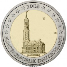 "2 euro Germany 2008 - Hamburg ""St Michael's church"" (F)"
