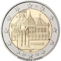 "2 euro Germany 2010 ""Bremen town hall with the Bremen Roland"" (A)"