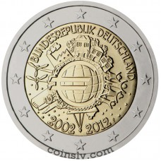 "2 euro Germany  2012 ""10 years of the Euro"" (A)"