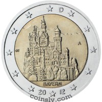 "2 euro Germany 2012 ""Bavaria ""Neuschwanstein Castle"""" (A)"