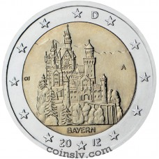 "2 euro Germany 2012 ""Bavaria ""Neuschwanstein Castle"""" (J)"