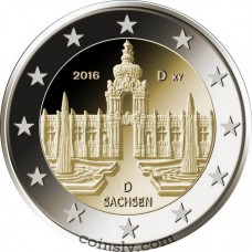 "2 Euro Germany 2016 ""Saxony ""Zwinger Palace in Dresden"""" (D)"