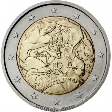 "2 euro Italy 2008 ""Universal Declaration of Human Rights"""