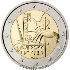 "2 euro Italy 2009 ""200th anniversary of the birth of Louis Braille"""