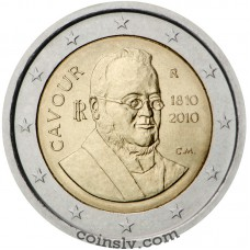 "2 euro Italy 2010 ""200th anniversary of the birth of Camillo Benso, count of Cavour"""