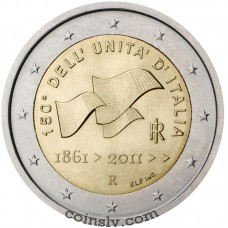 """2 euro Italy 2011 """"150th anniversary of the unification of Italy"""""""