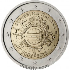 "2 euro Italy 2012 ""10 years of the Euro"""