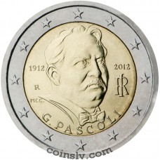 "2 euro Italy 2012 ""100th anniversary of the death of Giovanni Pascoli"""