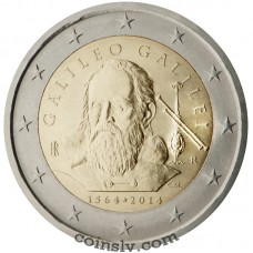 "2 Euro Italy 2014 ""450th anniversary of the birth of Galileo Galilei"""