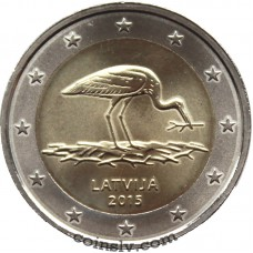 "2 Euro Latvia 2015 ""Endangered nature – the Black Stork"""