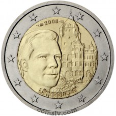 "2 euro Luxembourg 2008 ""The Grand Duke Henri and residence Chateau de Berg"""