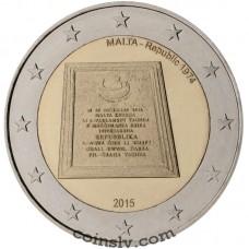"""2 Euro Malta 2015 """"Republic of Malta 1974"""""""