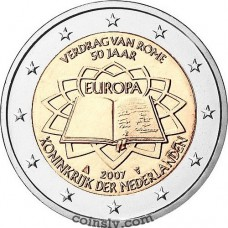 "2 euro Netherlands 2007 ""50th anniversary of the signing of the Treaty of Rome"""