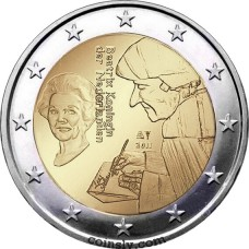 "2 euro Netherlands 2011 ""500th anniversary of 'Laus Stultitiae' by Desiderus Erasmus"""