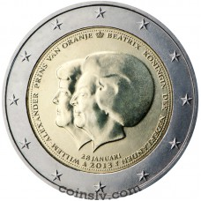 "2 Euro Netherlands 2013 ""Abdication of the throne by Her Majesty Queen Beatrix"""