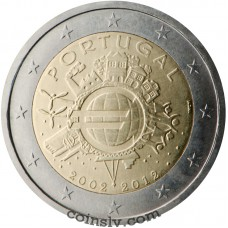 "2 euro Portugal 2012 ""10 years of the Euro"""