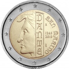 "2 Euro San Marino 2015 ""The 750th anniversary of the birth of Dante Alighieri"""