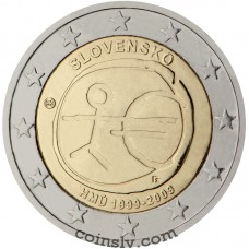 "2 euro Slovakia 2009 ""10 years of Economic and monetary union"""