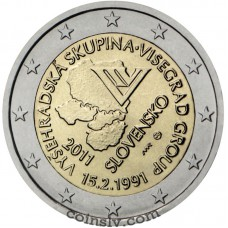 "2 euro Slovakia 2011 ""20th anniversary of the Visegrad Group"""