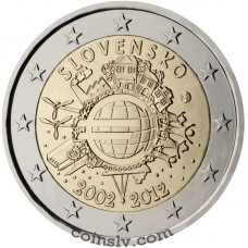 "2 euro Slovakia 2012 ""10 years of the Euro"""