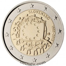 "2 euro Slovakia 2015 ""The 30th anniversary of the EU flag"""