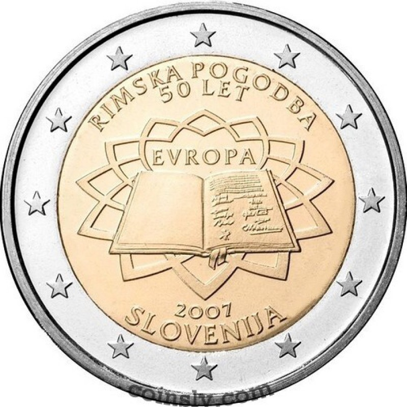 2 euro coin slovenia 2007 50th anniversary of treaty of rome. Black Bedroom Furniture Sets. Home Design Ideas