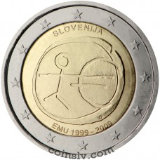 "2 euro Slovenia 2009 ""10 years of Economic and monetary union"""