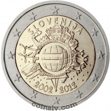 "2 euro Slovenia 2012 ""10 years of the Euro"""