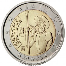 "2 euro Spain 2005 ""400 years of Don Quixote of La Mancha"""