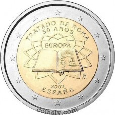 "2 euro Spain 2007 ""50th anniversary of the signing of the Treaty of Rome"""