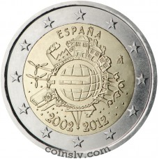 "2 euro Spain 2012 ""10 years of the Euro"""
