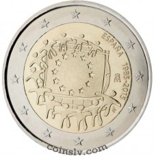 "2 Euro Spain 2015 ""The 30th anniversary of the EU flag"""