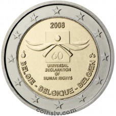 "Buy 2 euro Belgium 2008 ""Universal Declaration of Human Rights"""